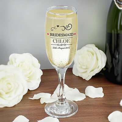 Personalised Champagne Toasting Glass Flutes Wedding Favour Gift Bride Mr&Mrs