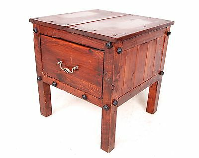 Vintage Bedside Table Cabinet Pine Rustic Farmhouse Side Table Drawer