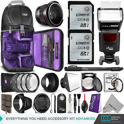 Canon Rebel T6s & EOS 760D Advanced Accessory Kit - Flash, Bag, Lenses & Filters