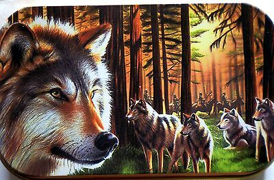 new slim 1oz hinged tobacco tin Wolves In Trees