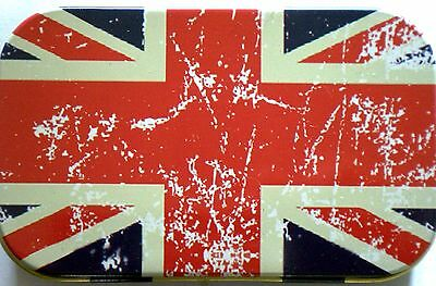 new slim 1oz hinged tobacco tin Distressed Union Jack