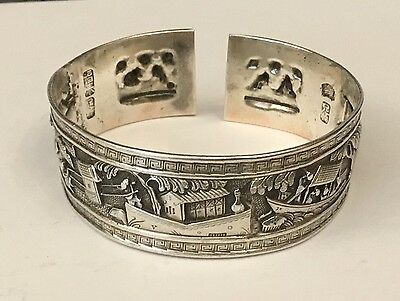 Vintage Signed Chinese Export Shanghai Silver Bangle Torque Cuff Bracelet