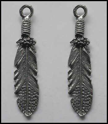 PEWTER CHARM #2434 x 2 FEATHER (42mm x 9mm) 1 bail