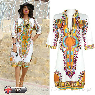 Traditional African Style Fashion Women Lady Party Dresses Loose Summer Dress UK