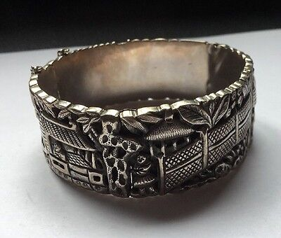 Coro China Export Silver Hinged Bangle Cuff Bracelet At Fault Needs Attention