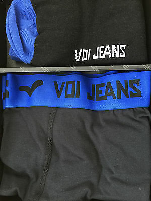 New Mens Voi Jeans Boxer/Socks Black/Blue Gift Set RRP £14.99