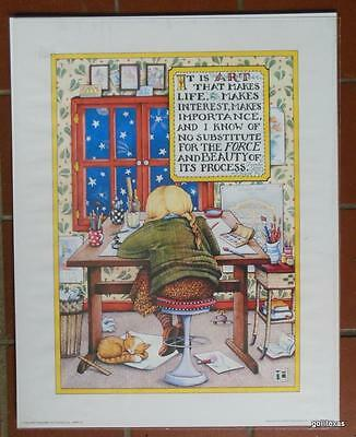 "Vintage Poster Mary Engelbreit 16 x 20"" ""Art That Makes Life"" 1989"