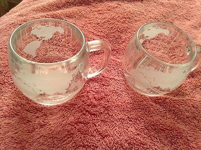 2 VINTAGE,  NESTLE CO. INC, GLASS WORLD MUGS, EARLY 60s..