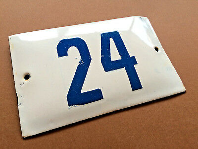 VINTAGE ENAMEL SIGN TIN PORCELAIN HOUSE NUMBER 24 DOOR GATE WHITE BLUE 1950's