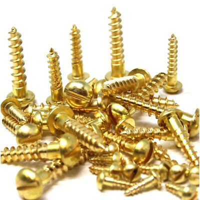 2g 3g 4g 6g 8g 10g 12g SOLID BRASS SLOTTED ROUND DOME HEAD WOOD SCREWS BS1210