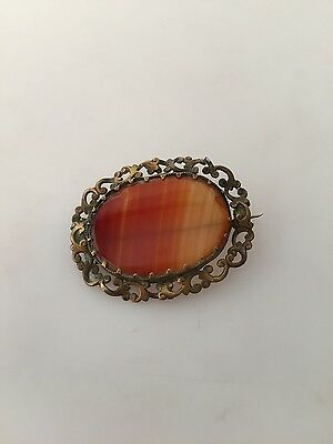 Antique GEORGIAN Brooch Banded AGATE Brass Setting