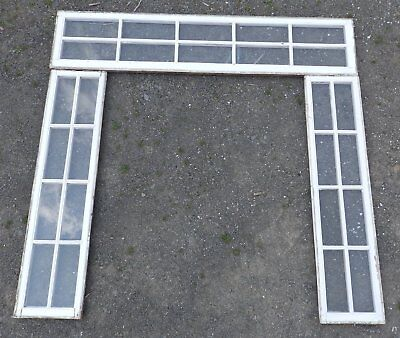 Antique Pair Entry Door 8 Lite Side Light Windows 10 Lite Transom Old Vtg 701-16