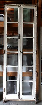 Tall  Antique 1890s Pair French Doors Frame Casement Window Vtg Hardware 702-16
