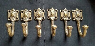 "6 strong solid brass Ornate backplate Single Coat Hat Towel Hooks 2 1/2"" #C4"
