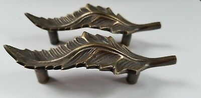 "2 brass detailed Organic Leaf Shape cabinet drawer pull handles 4 1/8"" #P7 • CAD $22.62"