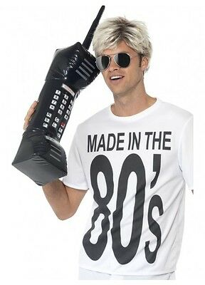 Inflatable Retro Mobile Phone Black 30 inches 80s costume accessory