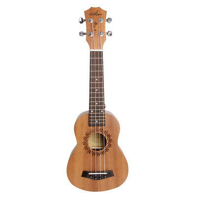 "21"" Soprano 4 String Ukulele Hawaiian Guitar Wood Musical Instrument Brown New"
