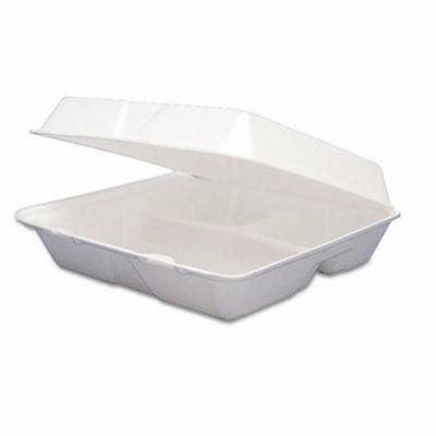 Medium Three Compartment Foam Hinged Containers, 200 Containers (DCC 85HT3R)