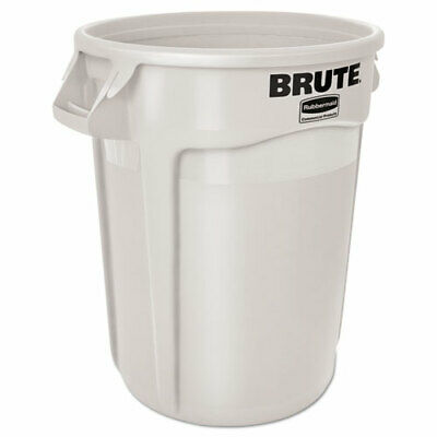 Rubbermaid 2632 Brute 32 Gallon Vented Round Waste Can, White (RCP 2632 WHI)
