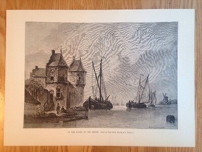 1881 original Victorian bookplate print etching Waldorp Banks of the Meuse boats