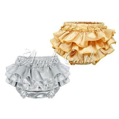 Baby Girl Infant Toddler Satin Ruffle Bloomers Pants Diaper Nappy Cover Sz 3-24M