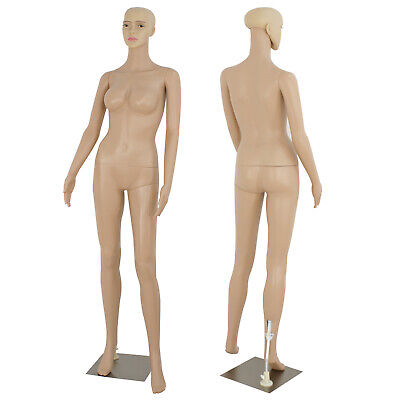 Plastic Realistic Display Head Turns Dress Form W/ Base Female Mannequin