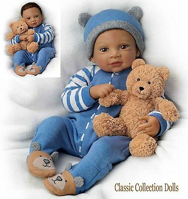 """Ashton Drake """"CALVIN & HIS TEDDY"""" LIFELIKE WEIGHTED BABY DOLL -NEW-IN STOCK NOW"""