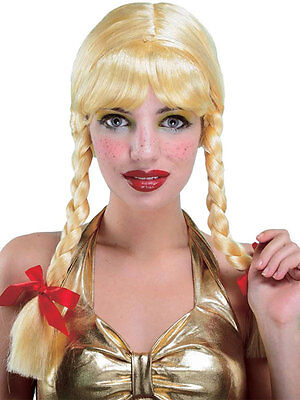 Adult School Girl Blonde Wig Fancy Dress Plaits Ladies Pigtails Beer Girl
