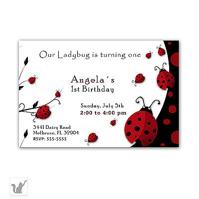 30 Ladybug Invitation Cards Girl Birthday Party or Baby Shower Red A1