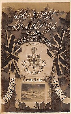 POSTCARD  MILITARY   ROYAL  SUSSEX  Regiment   Farewell Greetings  1919