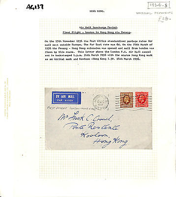AG137 1934 GB London KG5 Issues First Flight Airmail/HONG KONG
