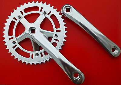 Fixie Crankset Alloy Bike Crank Track and Road Chainset 46T Polished Silver