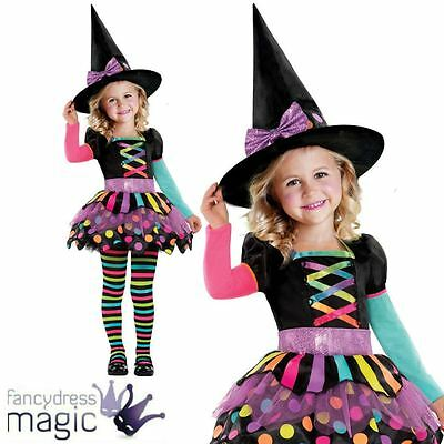 Deluxe Girls Toddler Miss Matched Witch Halloween Fancy Dress Costume Outfit 2-6