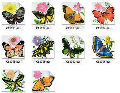 Flowers & Butterflies Brother Machine Embroidery Designs PES CD,USB