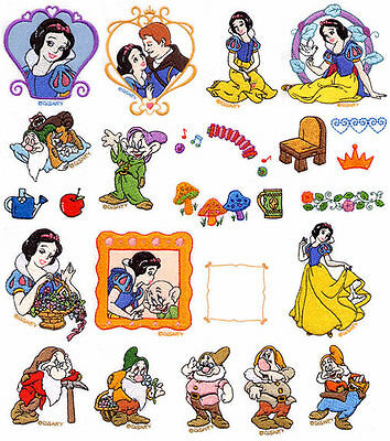 Disney Snow white Brother Machine Embroidery Designs PES CD,USB