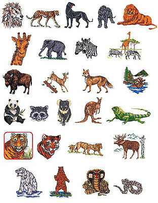 Safari Animals Brother Machine Embroidery Designs PES CD,USB