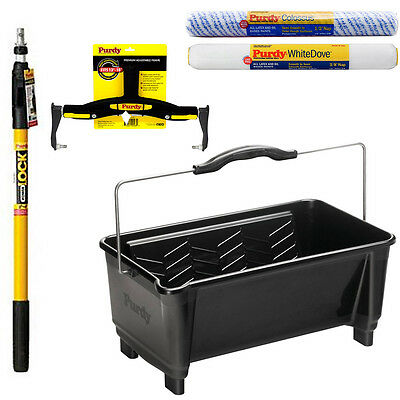 """Purdy Adjustable Roller Frame 12""""-18"""" Sleeves Extension Pole Paint Bucket Tray"""
