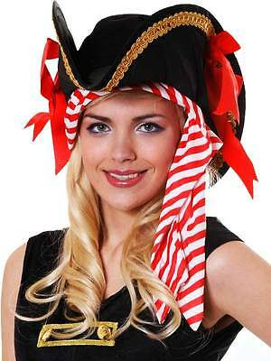 New Deluxe Quality Ladies Pirate Hat With Striped Bandana And Gold Braid & Bows