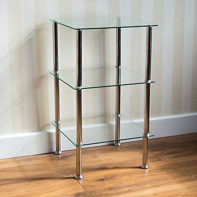 3 Tier Glass Shelf Unit Clear Shelving Storage Square Modern By Home Discount