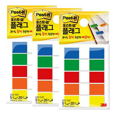 3M Post-it Flag 683-5KP 12mm*44mm 3packs 300Sheets bookmark point Sticky Note