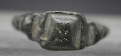 Ancient Medieval Bronze Decorated Finger Ring 13Th-15Th Century Ad.