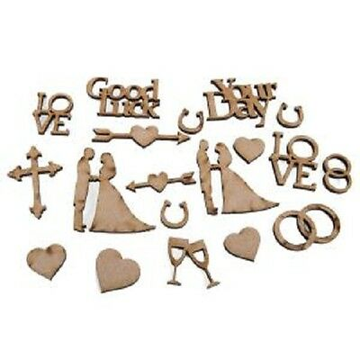 Creative Expressions Laser Cut MDF Wedding Accessory Pack MDFWEDCC 19 Pieces