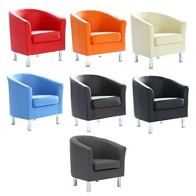 FoxHunter Modern Tub Chair Armchair PU Faux Leather With Chrome Leg Dining Room