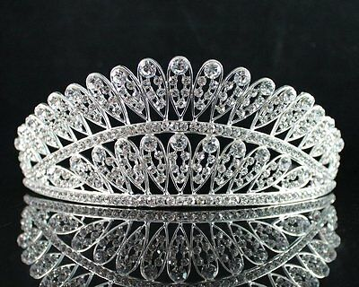 Feather Clear Austrian Crystal Rhinestone Hair Tiara Crown Birthday Bridal T1815