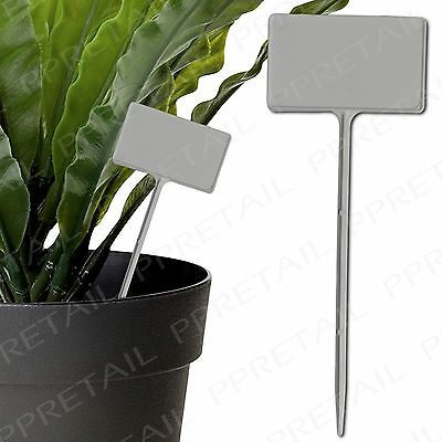 20 x LARGE TEE PLANT LABELS White Stick In Plastic Markers Seed Tray Stake Tags