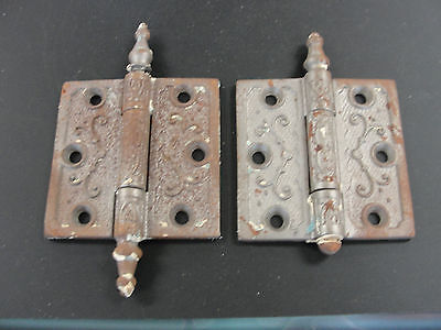 "Pair of Antique Steeple Tipped Cast Iron Hinges 1877 3"" 1800's"