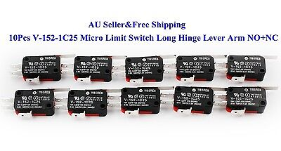 10Pcs V-152-1C25 Micro Limit Switch Long Hinge Lever Arm NO+NC 15A AU New