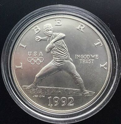 1992 D Uncirculated  Baseball Silver Dollar Sports Coin Olympic