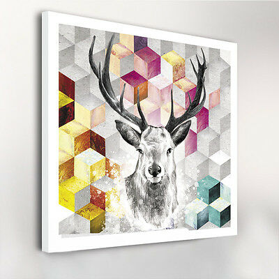CANVAS PRINTS DEER W80CM xH80CM xD4CM STRETCHED WALL DECOR ART ABSTRACT HIPSTER