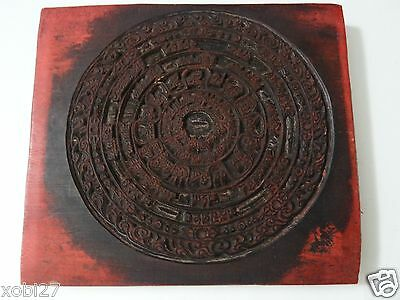 Antique Mongolian Buddhist Hand Carved Wooden Block For An Amulet Print